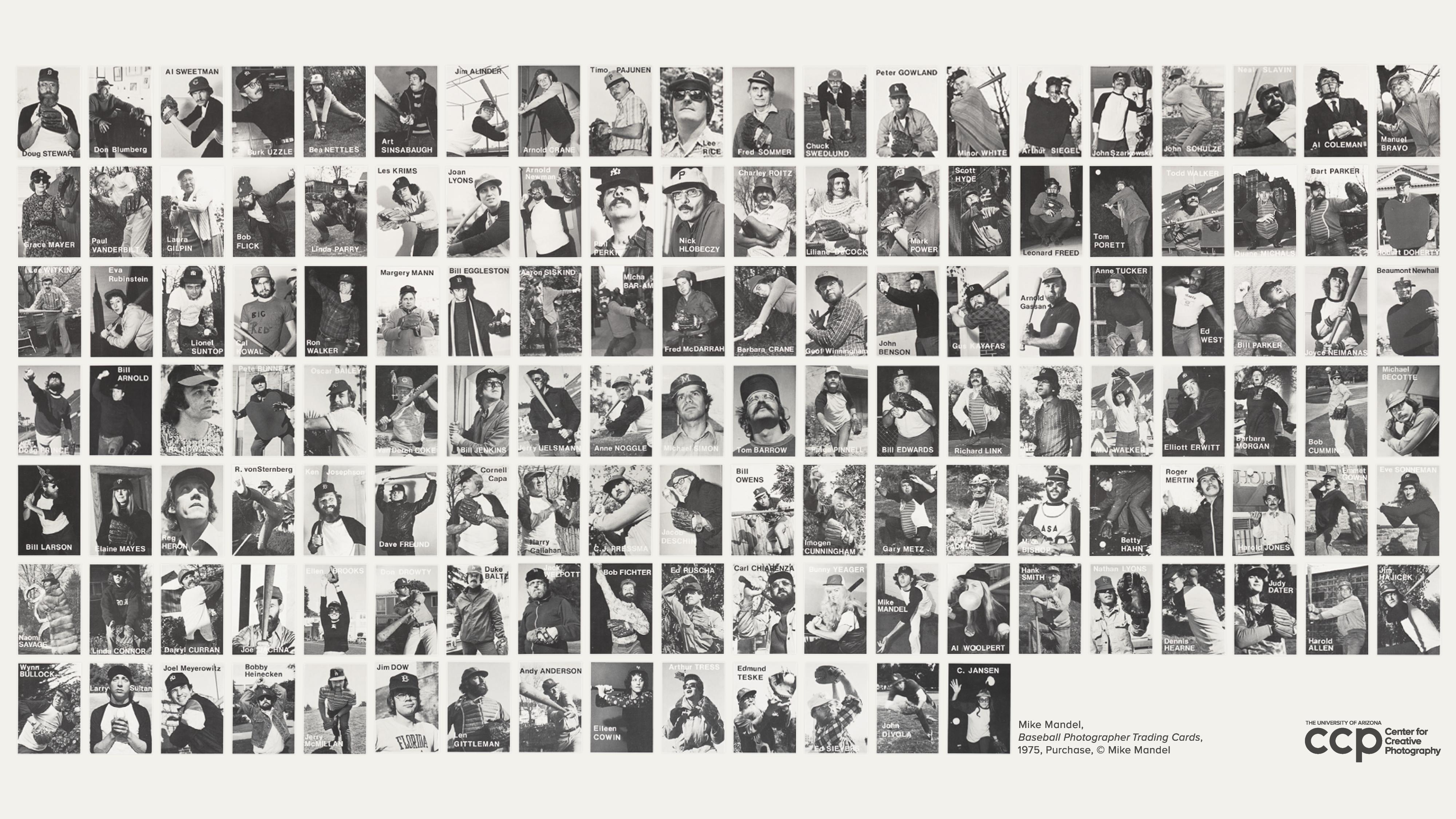 "Mike Mandel, ""Baseball Photographer Trading Cards"" (detail), 1975, Purchase, © Mike Mandel"
