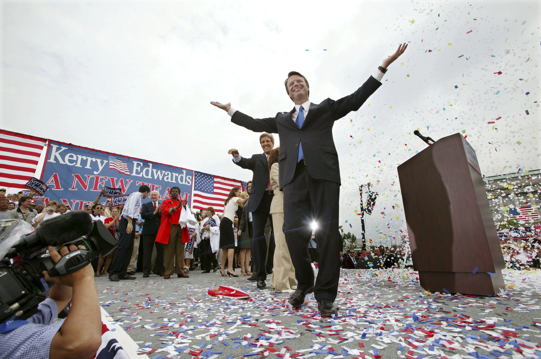 John Kerry and John Edwards, Democratic Presidential and Vice Presidential Candidates, at a Rally, Cleveland, Ohio