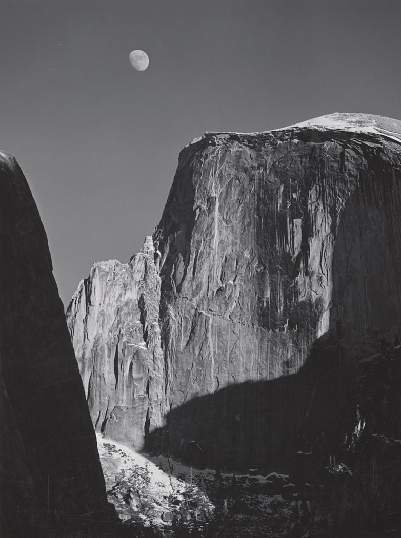 Moon and Half Dome, Yosemite National Park, California