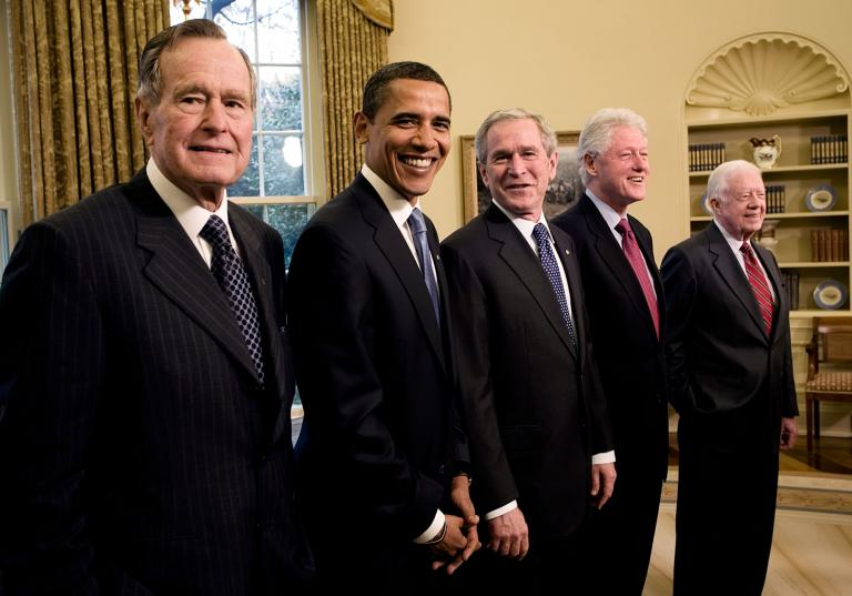 George H.W. Bush, Barack Obama, George W. Bush, Bill Clinton and Jimmy Carter, United States Presidents Gather Two Weeks before Barack Obama's Inauguration, Oval Office of the White House, Washington, D.C., 2009
